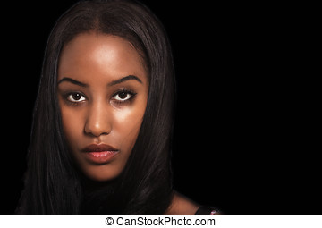 Woman expression - Woman emotions, face portrait on dark ...
