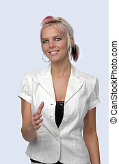 Woman Extending Hand - Young businesswoman offering...