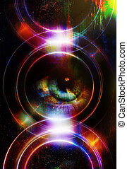 Woman eye and silhouette music Speaker, Light Circle. Music concept.