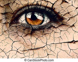 Woman Eye closeup dramatic dehydration or aging concept