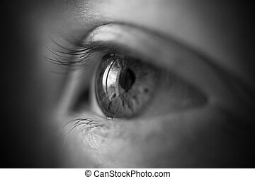 Woman eye concept. Black and white film style effect.