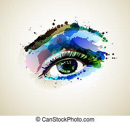 woman eye - Beautiful fashion woman eye forming by blots