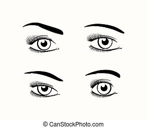 Woman eye silhouettes - Silhouette of female eyes open,...
