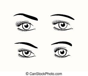 Woman eye silhouettes - Silhouette of female eyes open,...