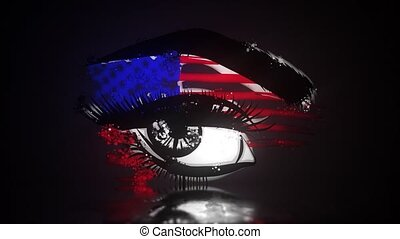 Woman eye with american flag video animation