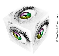 Woman eye. - Woman eye cube collage. Isolated on white...