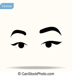 Woman eyes and eyebrows close up, isolated. Black and white. Vector ink line hand drawn illustration, paper artwork. Fashion beauty concept for advertising, promotion, branding, logo, label, emblem.