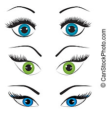 Woman eyes collection, vector illustration