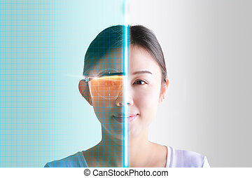 Woman eyes control and security in the accesses with futuristic interface.