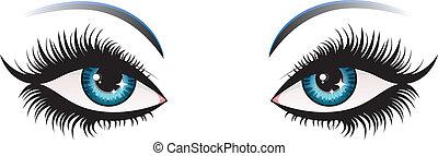 Woman eyes - Illustration of woman eyes with long eyelashes.