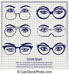 Woman eyes with glasses pen poster
