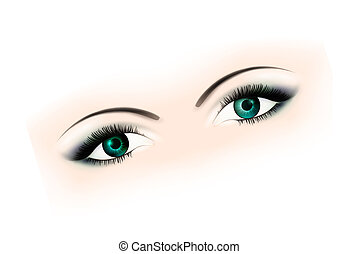 woman eyes with makeup over white