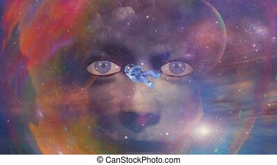 Woman face and astronaut in colorful space