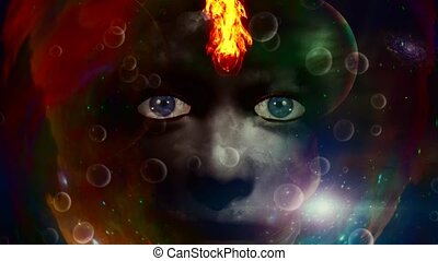 Woman face and fire in colorful space