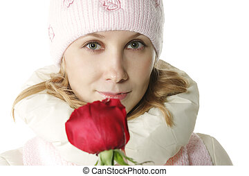 Woman face and flower