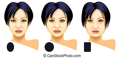 Woman face basic shapes set
