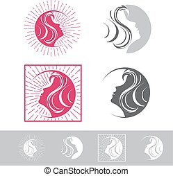 Woman Face Beauty Logo Design Set