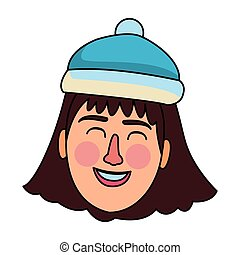 b410921655488 woman face smiling with winter hat vector illustration graphic design · Woman  face carrtoon