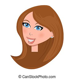woman face cartoon illustration isolated on white background