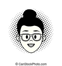 Woman face cartoon in black and white