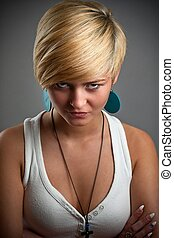 Woman face close up with blonde hair