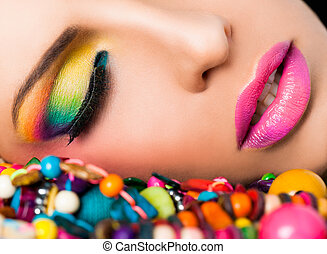 Woman face colourful make-up lips - Close-up of beautiful ...