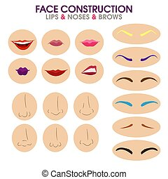 Woman face constructor. eyebrows, lips and noses.
