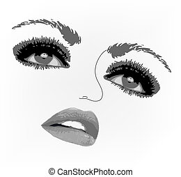 Woman face eyes. Vector illustration