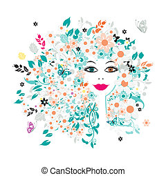Woman face, floral hairstyle for your design
