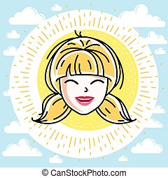 Woman face, human head. Vector character, beautiful blonde female with stylish haircut.