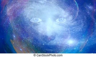 Woman face in colorful space. Animation