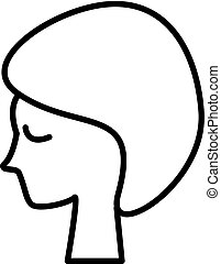 woman face, in spa vector line icon, sign, illustration on background, editable strokes