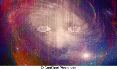 Woman face in colorful space