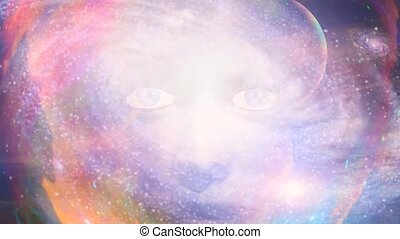 Woman face in vivid space. Spinning galaxy