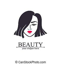 Woman face logo. Asian girl. Emblem for a beauty or yoga salon. Style of harmony and beauty. Vector illustration