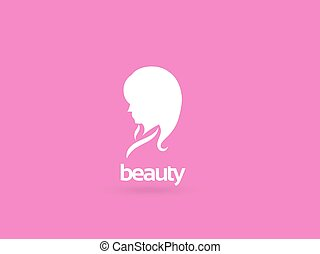 Woman face logo design template. Girl silhouette - cosmetics, beauty, health & spa, fashion themes. Creative vector icon.