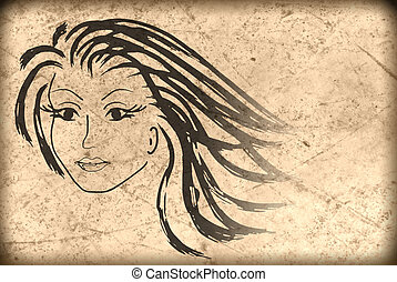 woman face on the old paper , grunge background
