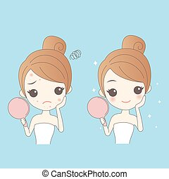Woman Face problem Concept - cartoon skin care woman with...