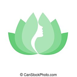 Young woman face profile in lotus flower- beauty icon isolatet on white background