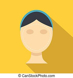 Woman face ready for cosmetic surgery icon. Flat...