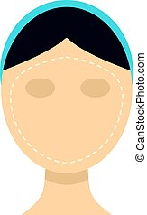 Woman face ready for cosmetic surgery icon flat isolated on...
