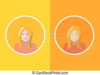 Woman face scan identification, concept illustration