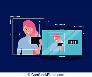 woman face scan process