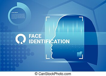Woman Face Scanning Modern Identification System Access...
