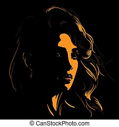 Woman face silhouette in backlight. Vector. Illustration.