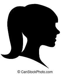 Woman face silhouette in profile
