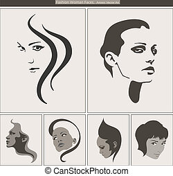 Woman Face Silhouette Portrait. Vector Beauty Profiles