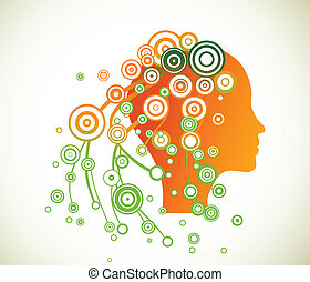 Woman face silhouette with abstract hair. Vector
