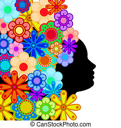 Woman Face Silhouette with Hair of Colorful Flowers Abstract...