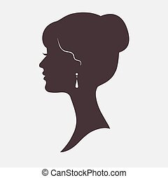 Woman Face Silhouette with Stylish Hairstyle